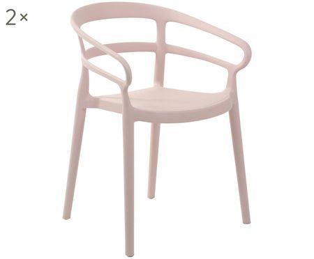 Krzesło z tworzywa sztucznego z podłokietnikami Rodi, 2 szt.