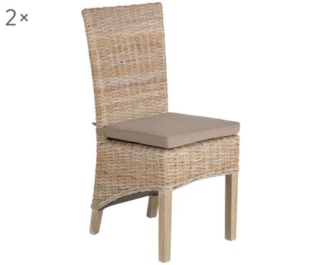 Polyrattan-Stühle Kubu im Landhausstil, 2 Stück