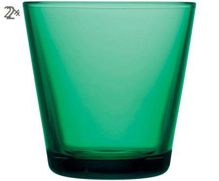 Wassergläser Kartio in Grün, 2er-Set
