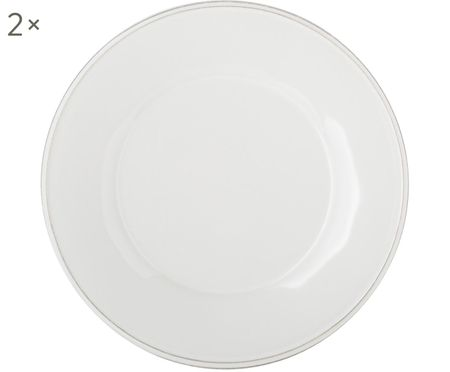 Assiettes à dessert blanches Constance, 2pièces