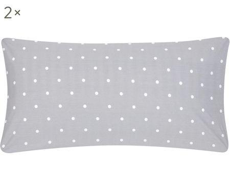 Gepunktete Renforcé-Kissenbezüge Dotty in Grau/Weiß, 2 Stück