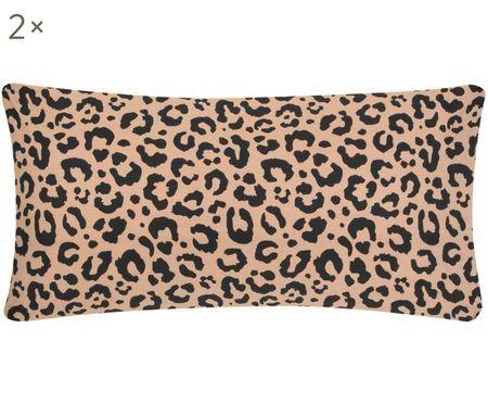 Perkal-Kissenbezüge Leopard, 2 Stück