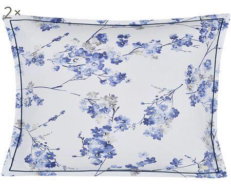 Taies d'oreiller en satin de coton Blossom Faïence, 2 pièces
