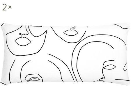 Perkal-Kissenbezüge Aria mit abstrakter One Line Zeichnung, 2 Stück