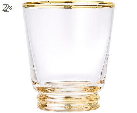 Wassergläser Frame mit Goldrand und Goldboden, 2er-Set