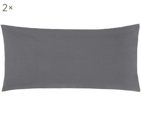 Tmavě šedý perkálový povlak na polštář Elsie, 2 ks