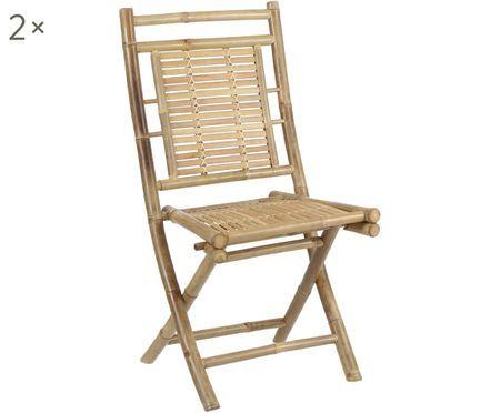 Chaises en bambou Tropical, 2 pièces
