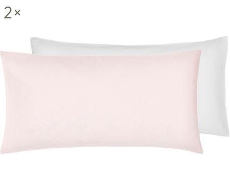 Baumwollsatin-Wendekissenbezüge Julia in Weiß/Rosa, 2 Stück