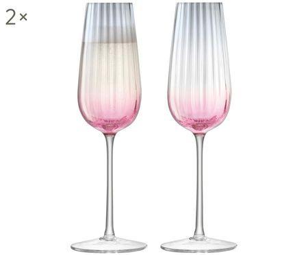 Flûtes à champagne faites main en verre teinté Dusk, 2 pièces