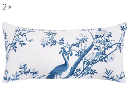 Perkal-Kissenbezüge Annabelle in Blau/Weiß, 2 Stück