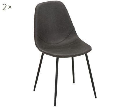 Krzesło tapicerowane ze sztucznej skóry  Linus, 2 szt.