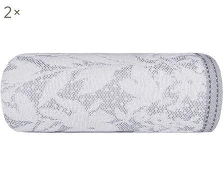 Gästetücher Matiss in Weiß/Grau mit floralem Muster, 2 Stück