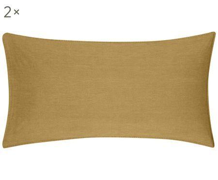 Gewaschene Baumwoll-Kissenbezüge Arlene in Gelb, 2 Stück