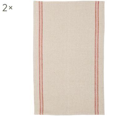 Canovaccio in lino beige con strisce rosse Landhaus, 2 pz.