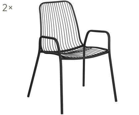 Chaises à accoudoirs en métal Tirana, 2 pièces