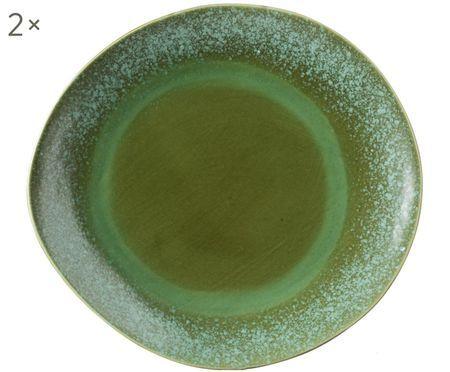 Ručne vyrobený plytký tanier 70's, 2 ks