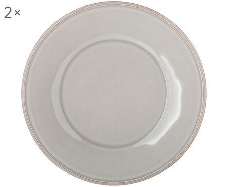 Assiettes à dessert gris clair Constance, 2pièces