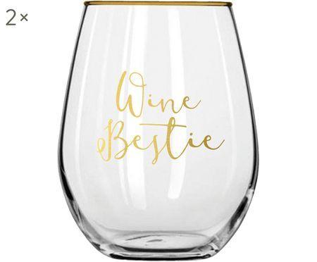 Gläser Wine Bestie mit goldener Aufschrift, 2 Stück