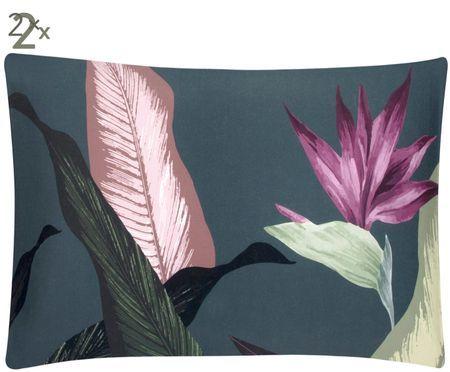 Taies d'oreiller réversibles en satin de coton Flora, 2 pièces