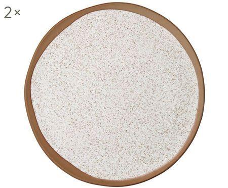 Frühstückteller Caja matt in Braun- und Beigetönen, 2 Stück