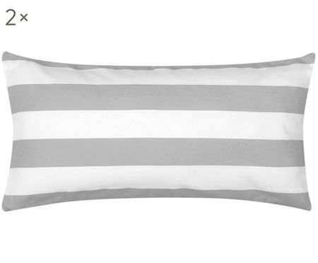 Pruhovaná flanelová obojstranná obliečka na vankúš Dora, 2 ks