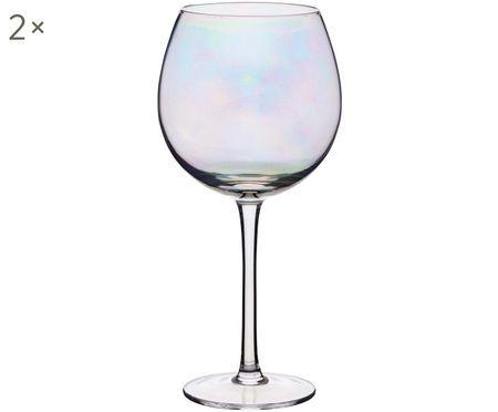 Rode wijnglazen Iridescent met paarlemoer glans, 2er-set