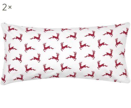 Flanell-Kissenbezüge Rudolph mit Rentieren, 2 Stück