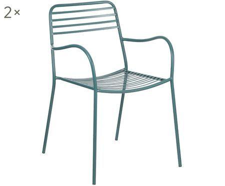 Krzesło z metalu z podłokietnikami Tula, 2 szt.