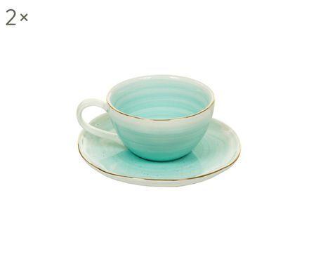 Tasses à espresso avec sous-tasses faites à la main Bol, 4élém.