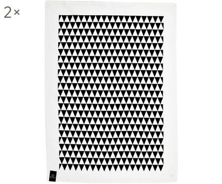 Torchons motif monochrome noir Dreieck, 2pièces