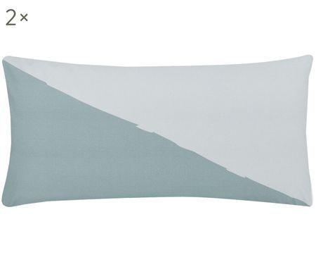 Perkal-Kissenbezüge Colorblock mit geometrischem Muster, 2 Stück