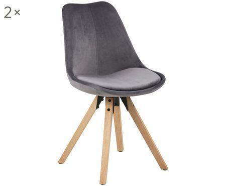 Krzesło tapicerowane z aksamitu Dima, 2 szt.