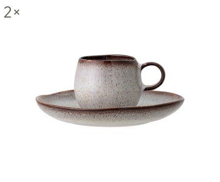 Handgemachte Espressotassen Sandrine mit Untertassen, 2 Stück