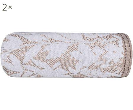 Asciugamani ospiti Matiss in bianco / taupe con motivi floreali, 2 pz.