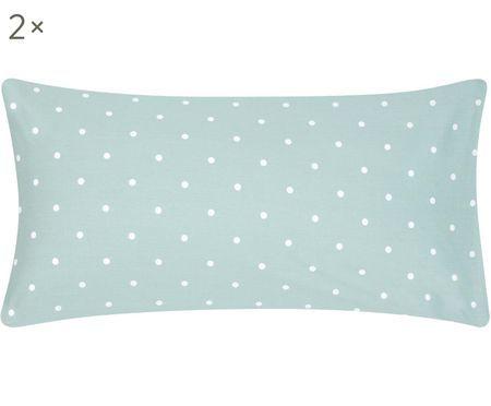 Gepunktete Renforcé-Kissenbezüge Dotty in Grün/Weiß, 2 Stück
