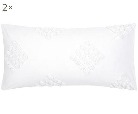 Perkal-Kissenbezüge Fia mit getufteter Verzierung, 2 Stück