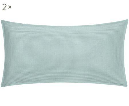 Oboustranný šalvějově zelený povlak na polštář svaflovou strukturou Anita, 2 ks