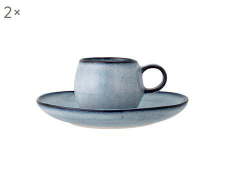 Tasses à espresso artisanales avec sous-tasses Sandrine, 2 pièces