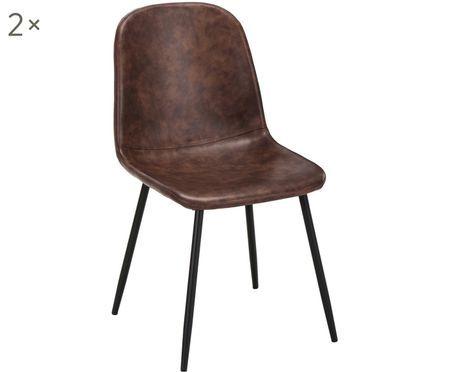 Stolička s čalúnením z umelej kože Leo, 2 ks