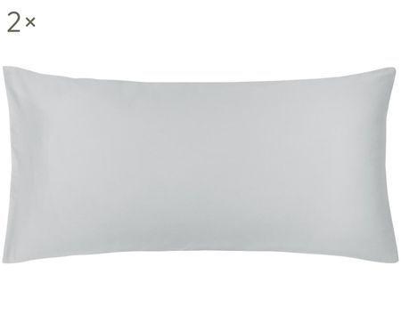 Baumwollsatin-Wendekissenbezüge Julia in Weiß/Grau, 2 Stück