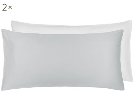 Oboustranný bílo-šedý povlak na polštář zbavlněného saténu Julia, 2ks