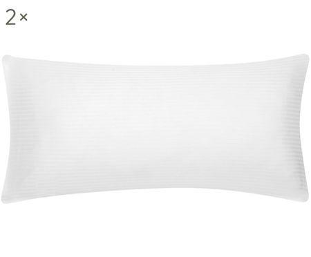 Satinstreifen-Kissenbezüge Stella in Weiß, 2 Stück