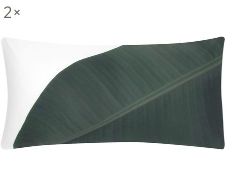 Perkal-Kissenbezüge Banana in Weiß/Grün, 2 Stück