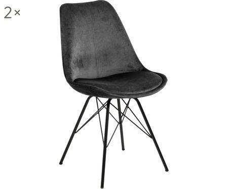 Krzesło tapicerowane z aksamitu Eris