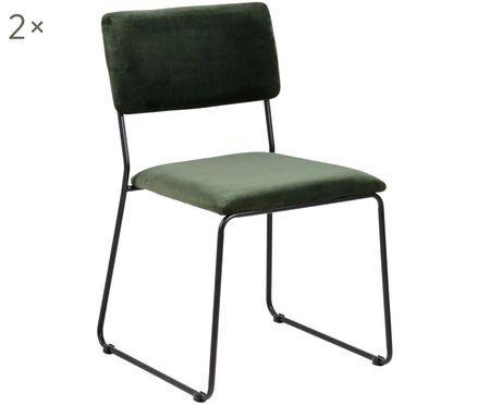 Krzesło tapicerowane z aksamitu Cornelia, 2 szt.
