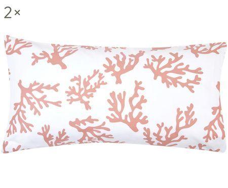 Baumwollsatin-Kissenbezüge Cora mit Korallen, 2 Stück