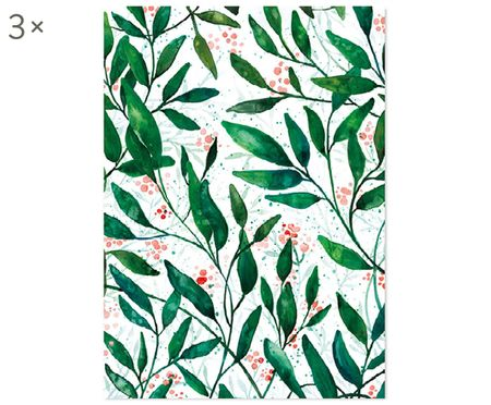 Cadeaupapier Green Leaves, 3 rollen
