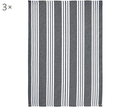 Geschirrtücher Loft in Grau/Weiß gestreift, 3 Stück