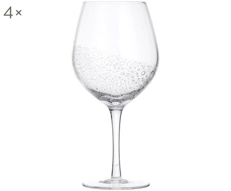 Mondgeblazen rode wijnglazen  Bubble, 4 stuks
