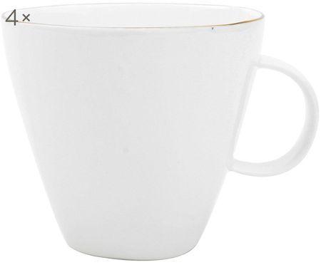 Kaffeetassen Abysse weiss/gold, 4 Stück